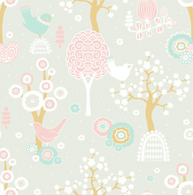 This bright and colourful pink, grey, yellow, green, and blue pattern with turn any wall into a dreamy scene of wonderment.