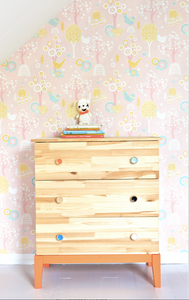 This bright and colourful pink, yellow, green, and blue pattern with turn any wall into a dreamy scene of wonderment.