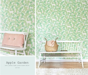 This beautiful green, light pink, and cream white wallpaper will add class and glamour to any bedroom or nursery.