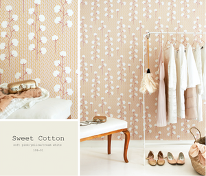 This lovely light pink, yellow and cream white wallpaper will add class and glamour to any bedroom or nursery.