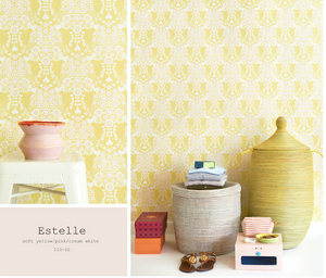 This stunning yellow, pink and cream white wallpaper will add class and glamour to any bedroom or nursery.
