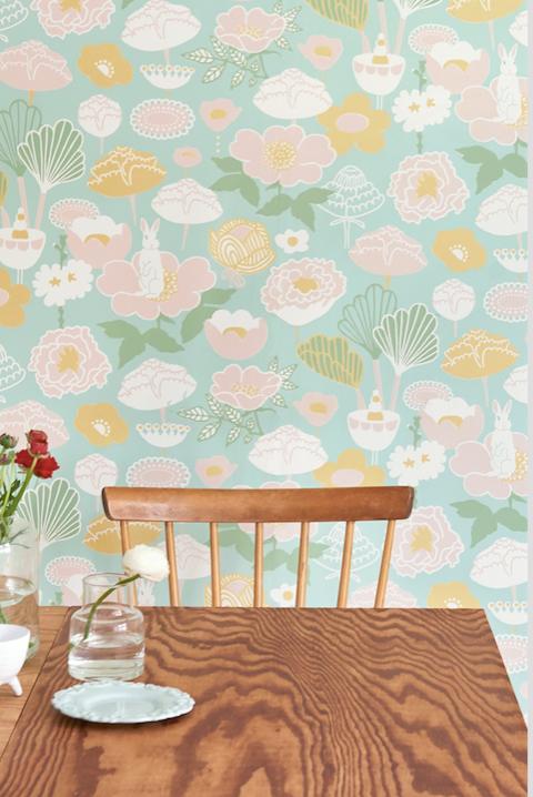 This patterned wallpaper with turquoise and flowers will add class and glamour to any bedroom or nursery.