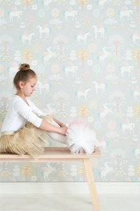 A sweet unicorn grey wallpaper design to add enchantment and fun to any girls dream. Unicorns and their wings on a light grey background.