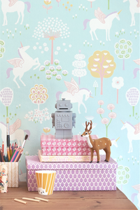 Unicorn wallpaper is the answer to any little girl's dream. This design with colourful patterns, unicorns and flowers will sure make any room look great.