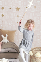 This fun and vibey pink wallpaper will add to any kid's room or nursery.