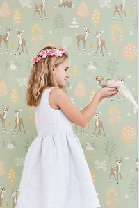 This eco-friendly Swedish wallpaper with its charming design and colours will make any children's room or baby nursery a sanctuary.