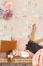 This soft pink background with bambi the deer, swans, trees, and blossoms will make any children's room or baby nursery a sanctuary.