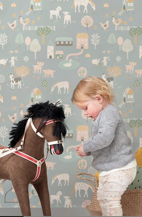 Let your child's imagination run wild with this gorgeous wallpaper with all the farm animals and gorgeous soft pastel colours. Ideal for child's room, playroom, or nursery.