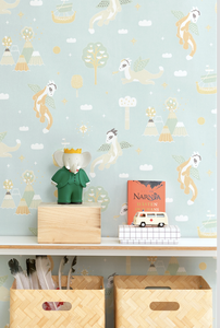 Dreamy magical wallpaper design. Ideal for any child's room, baby room, or playroom.