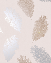 This Bulsh pink textured wallpaper with feathers in rose gold and grey makes for a classy wallpaper design.