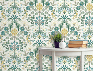 Roomshot of Geometric Floral in Green, Yellow and white