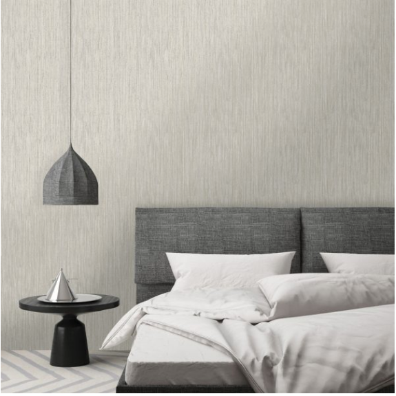 metallic striped textured wallpaper in grey and gold will sure make an impact on any wall.