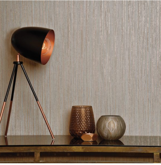 This Textured affect wallpaper with small striped lines is very impactful and classy with rose gold and charcoal colour way