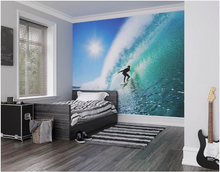 This Adrenalin Wall Mural is any beach lover's dream with scenes of the waves, sun and se. All in bright blues and green.
