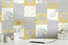 This fun yellow and grey collage wallpaper design features, animals such as elephants, giraffes, and flamigoes with inspirational quotes and geometric angles to make up a different yet inviting wallpaper pattern. Ideal for a study or office.
