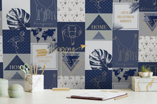 Collage type wallpaper design in navy with elephants, flamingoes, and elephants with motivational quotes and geometric shapes.