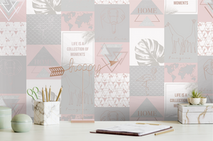 This funky pink and grey collage design would work really well as a wallpaper in boardroom or a home office, with the inspirational quotes, line drawn animals and geometric angles.