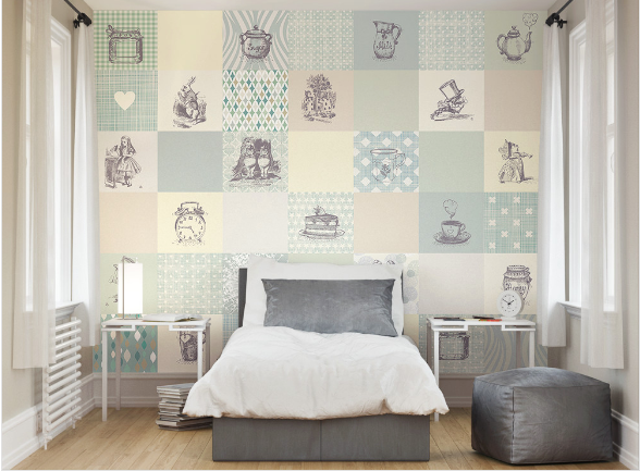 Drawing the beauty from John Tennial's original Alice in Wonderland illustrations, the adventure wall mural expertly combines pattern, illustration, pattern to create a design that will allow you to subtly introduce a wallpaper mural l into your home.