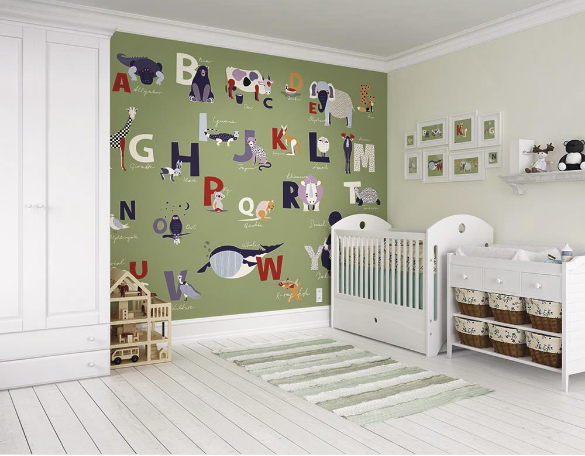 The whole alphabet mural design taught to your little ones with the fun and colourful use of our favourite animals. Ideal for playrooms, bedrooms and baby rooms.