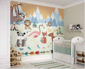 This wall mural is just too cute for a baby room with all the fun animals and bright colours.