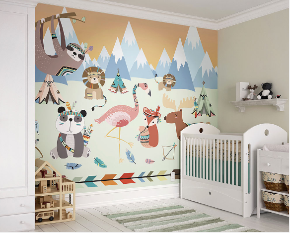 This woodland wallpaper mural is just too cute for a baby room with all the fun animals and bright colours.