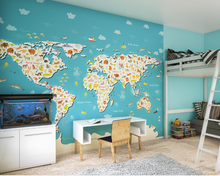 This Animals of the world map wall mural allows your child to explore the continents and learn about the world in a bright and colourful way.
