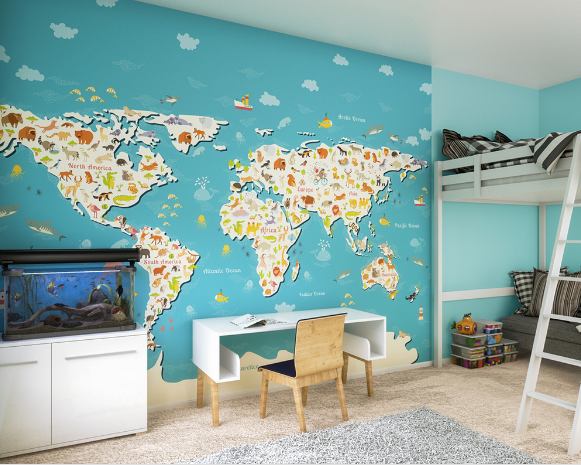 This wall mural allows your child to explore the continents and learn about the world in a bright and colourful way.
