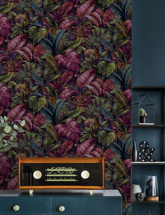 This funky tropical palm leaf wallpaper adds an element of fun with the addition of purple plum colours.