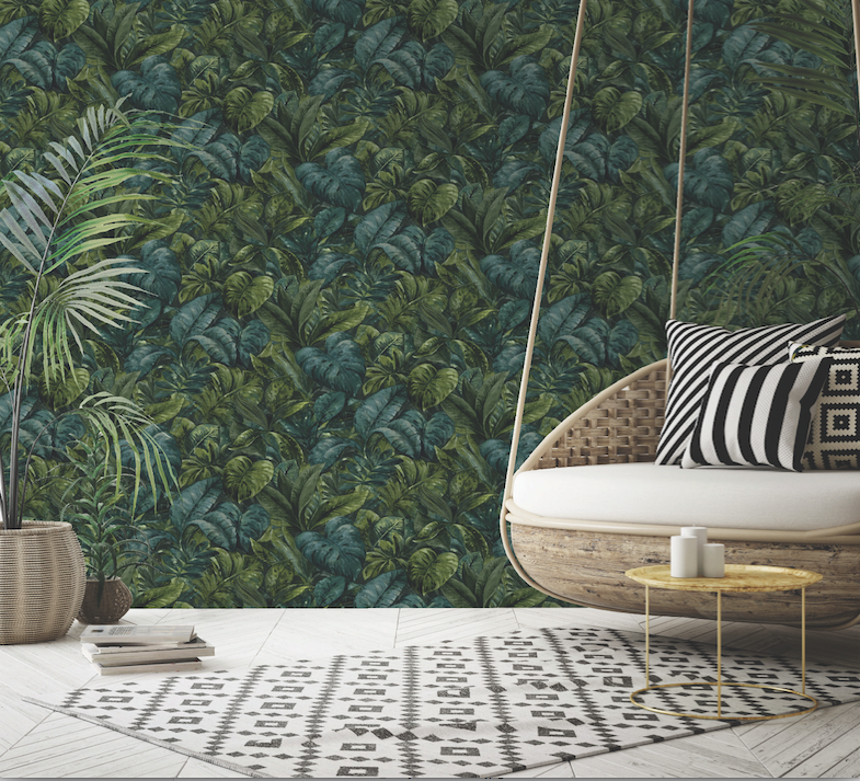 Lush green tropical green leaves makes up this hand painted wallpaper which looks great as a kitchen wallpaper
