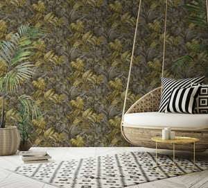 Hand Painted tropical palm leaves makes up this gorgeous ochre wallpaper design