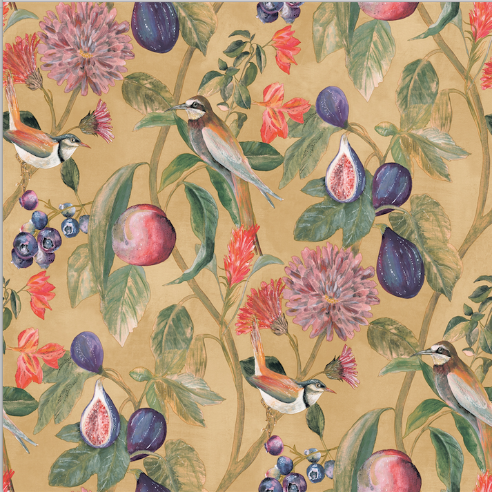 Clay coloured background in a mixture of brown, orange, and green with florals, fruits, and soft birds make this pattern so striking.