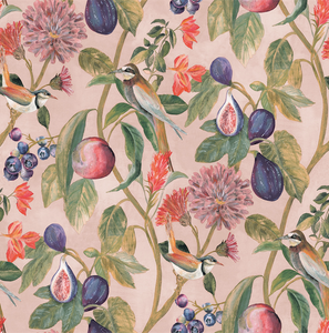 Soft pink background with sweet little birds, fruits and greener makes this such an eye catching wallpaper pattern.