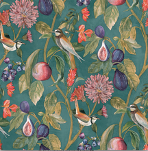 Soft guava fruits and cute little birds on a striking blue green background makes this wallpaper design a perfect choice for any room in the house. Very popular for a pantry.