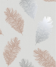 This feather wallpaper design is so chic and effective with floating feathers in rose gold and grey on a grey textured background.