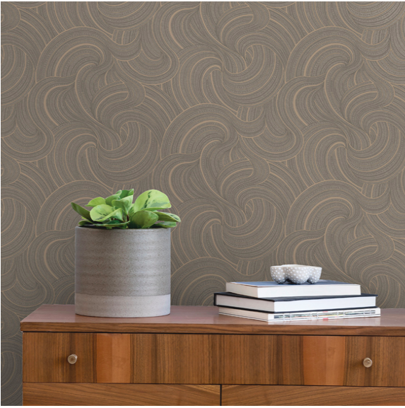 Dark Grey and Gold textured wallpaper with gorgeous shimmering metallic textured swirls.