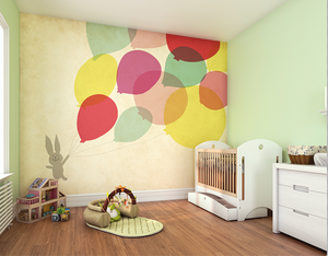 A sweet little bunny off on a adventure with some colourful balloons is the theme of our charming Balloon Fun wall mural and is the perfect choice for a baby's room, children's bedroom or playroom.
