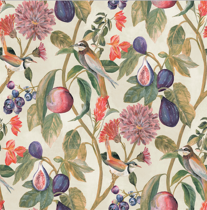 This floral bird wallpaper is so gorgeous with soft fruits and greenery. Great for a kitchen or pantry.