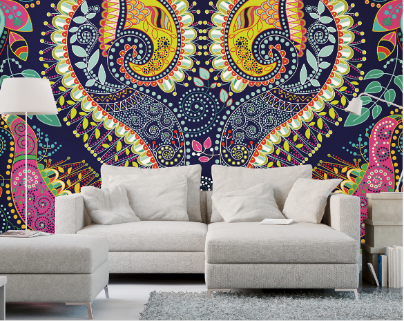 This bold paisley wall mural a distinctive intricate pattern of curved feather-shaped figures based on an Indian pine-cone design.