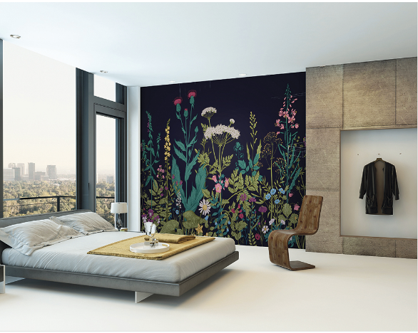 Botanical Fleur fancify wall mural is a dramatic design of bright beautiful flowers on a bold dark background giving a floral backdrop with a difference.