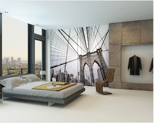 This mural features the structurally magnificent National Historic Landmark that is Brooklyn Bridge.