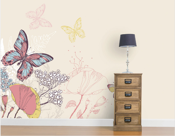 A subtle design to introduce a wall mural into your home, this pretty design with it's finely drawn flora, fauna and delicately coloured butterflies is perfectly complimented by its pale cream background.