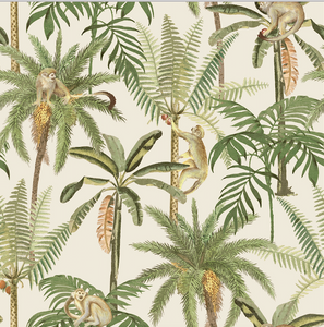 Cream background with swinging monkeys and palm trees makes this tropical pattern wallpaper a great choice to add some fun to any wall.