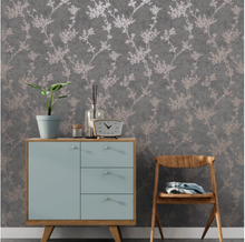 Roomshot of Chevril Grey and Rose Gold Trail Walllpaper