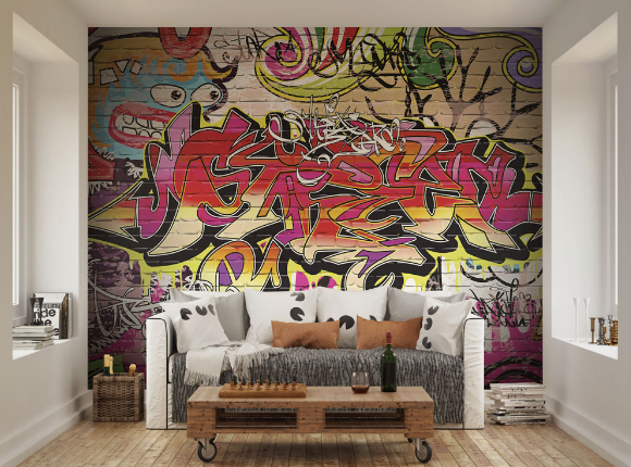 The brickwork backdrop and striking spray-painted graffiti design will lend a distinctly urban edge to any interior. What a fun Wall Mural!