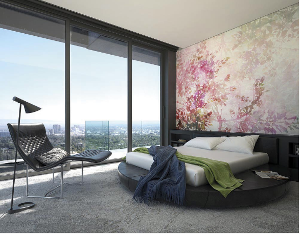 Soft pink cherry blossoms with a touch of greenery make up this gorgeous Clarity Wall Mural.
