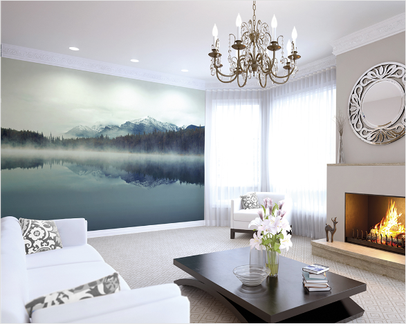 This stunning yet simple Cloudy Peaks wall mural design just radiates peace and calm in a scene straight from nature. Simply stunning.