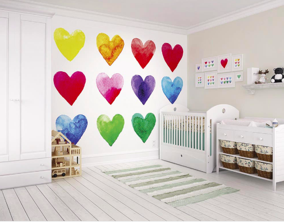 This Colour My Heart Wall mural depicts so many feelings and meanings with the array of colourfully painted love hearts. Cute, colourful and charming.