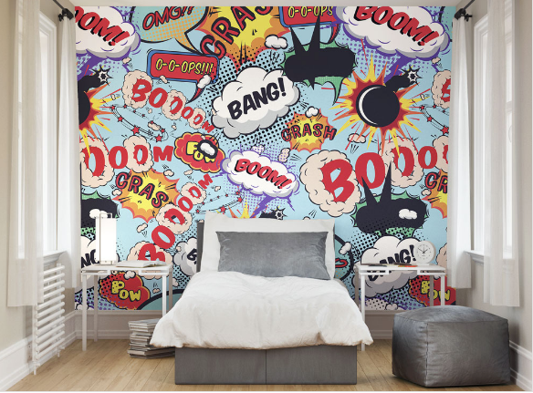 This Comic Pop wall Mural is a good way to add some fun and laughter your your room, featuring comical bangs, pops, and exclamation marks in funky colours.
