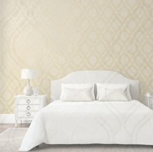 Cork Trellis Room shot in cream and gold