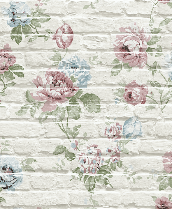 Pink Floral design on cream bricks
